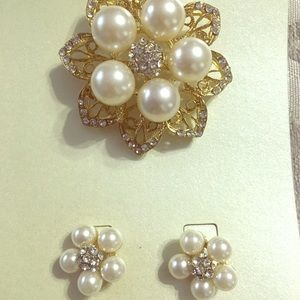 Pearl and crystal inspired brooch